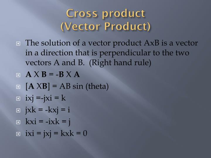 Cross product vector product