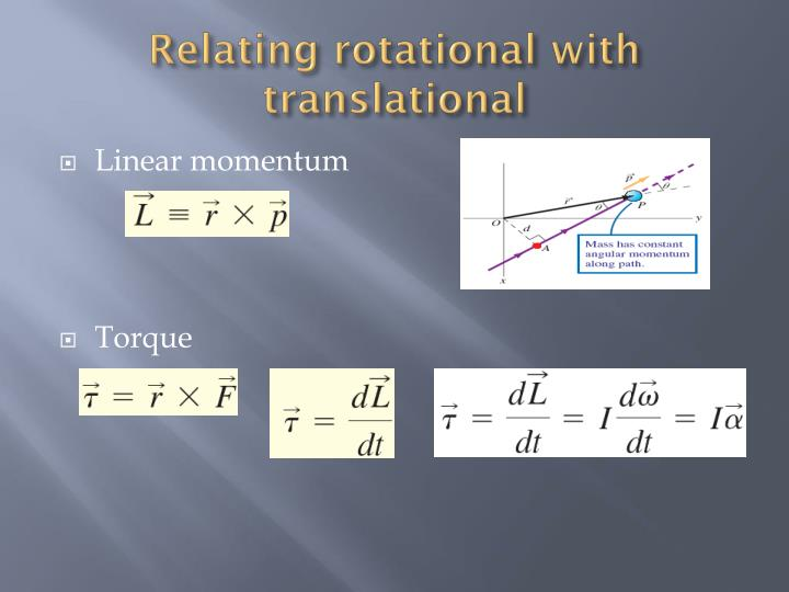 Relating rotational with translational