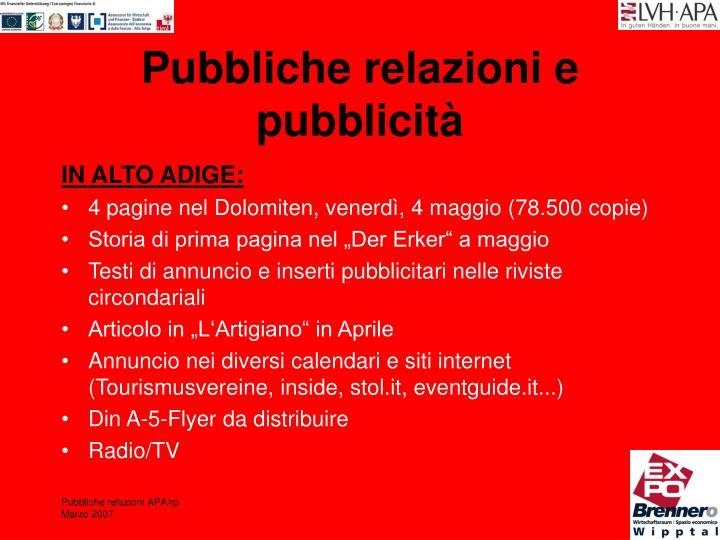 Pubbliche relazioni e pubblicità