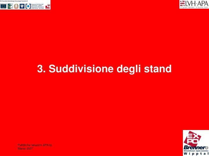 3. Suddivisione degli stand