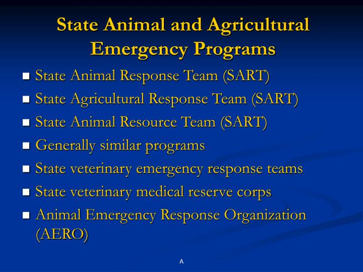 State Animal and Agricultural Emergency Programs