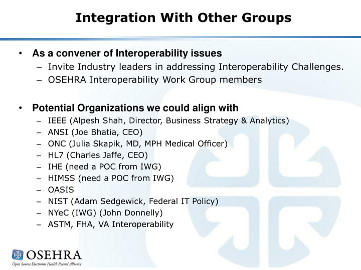 Integration With Other Groups