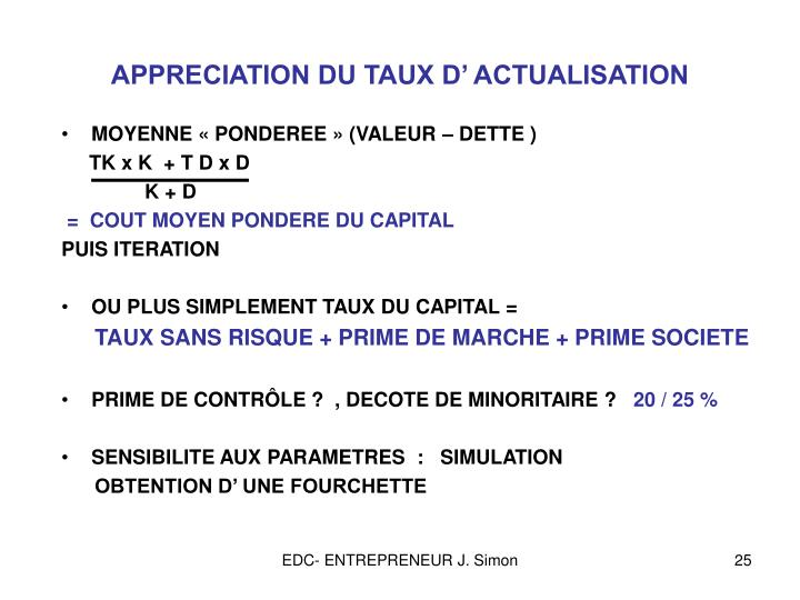 APPRECIATION DU TAUX D' ACTUALISATION
