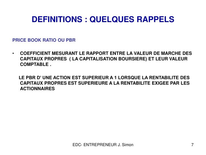 DEFINITIONS : QUELQUES RAPPELS