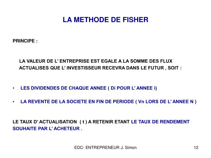 LA METHODE DE FISHER