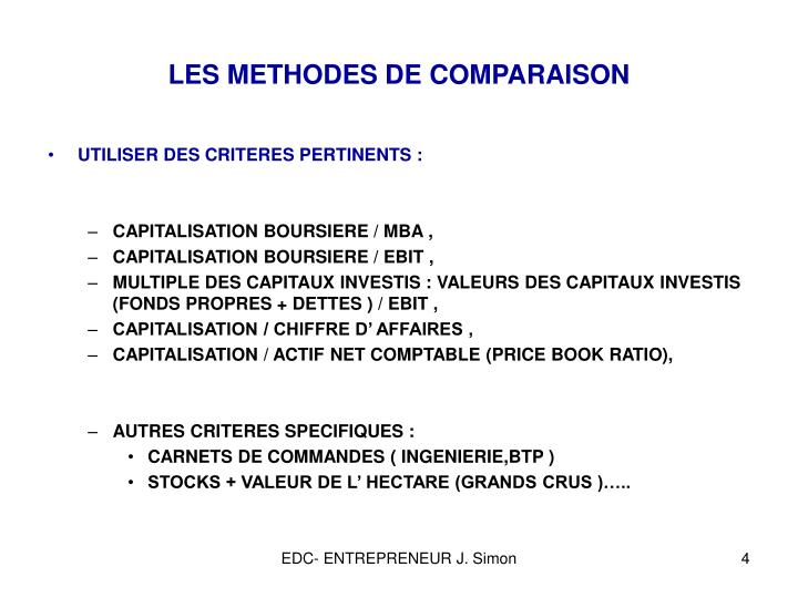 LES METHODES DE COMPARAISON