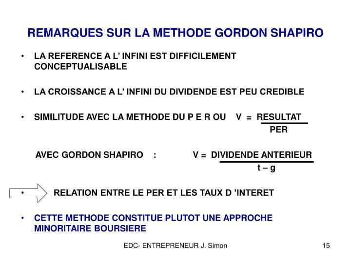 REMARQUES SUR LA METHODE GORDON SHAPIRO
