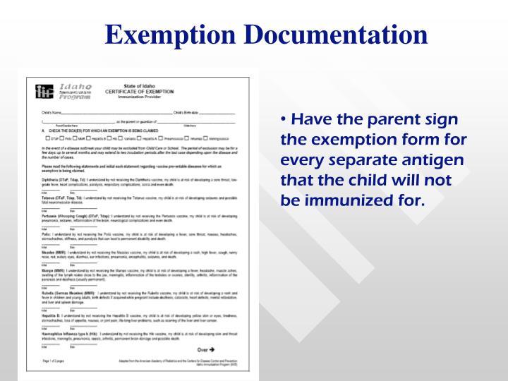 Exemption Documentation