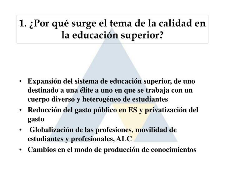 1. ¿Por qué surge el tema de la calidad en la educación superior?
