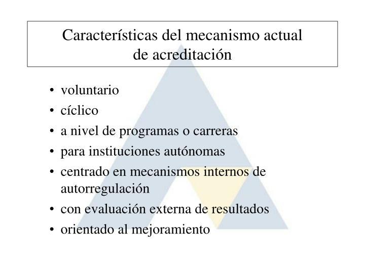 Características del mecanismo actual