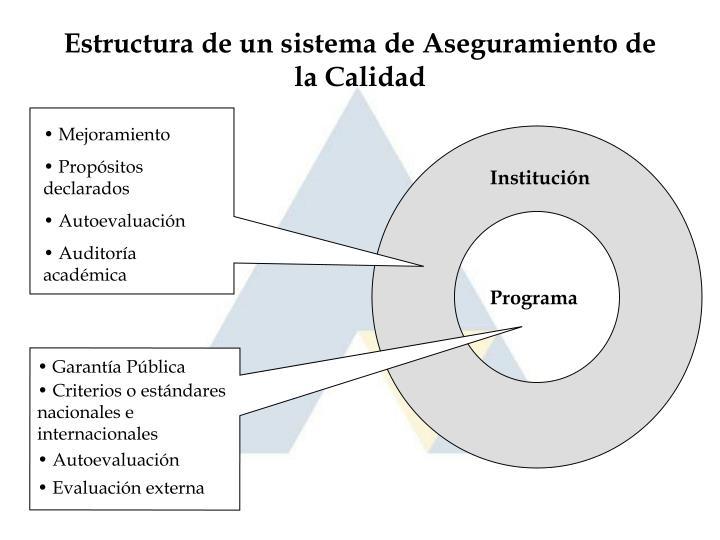 Estructura de un sistema de Aseguramiento de la Calidad