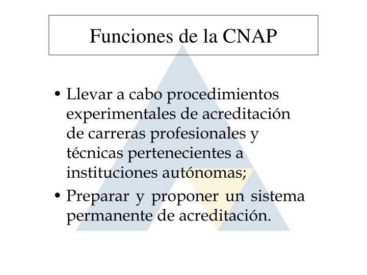 Funciones de la CNAP