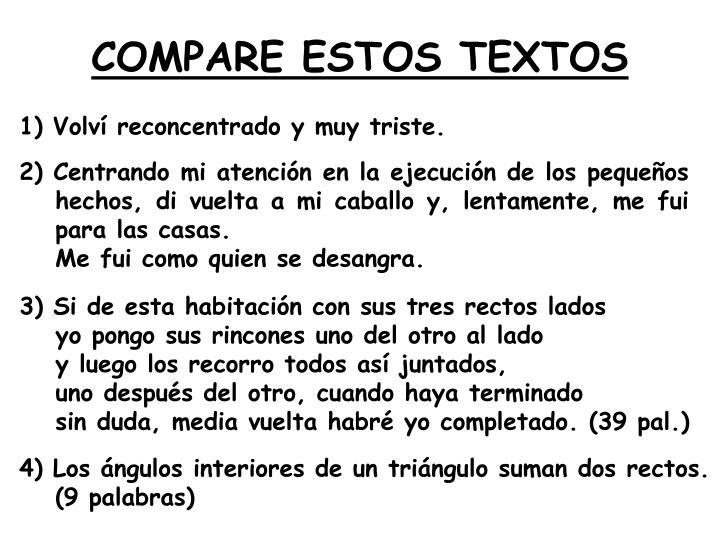 COMPARE ESTOS TEXTOS