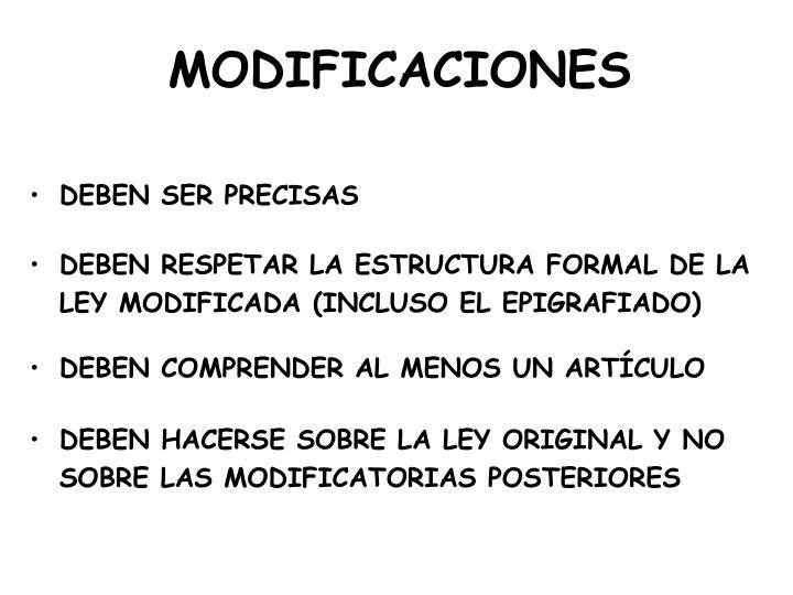 MODIFICACIONES