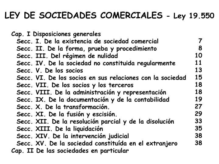 LEY DE SOCIEDADES COMERCIALES
