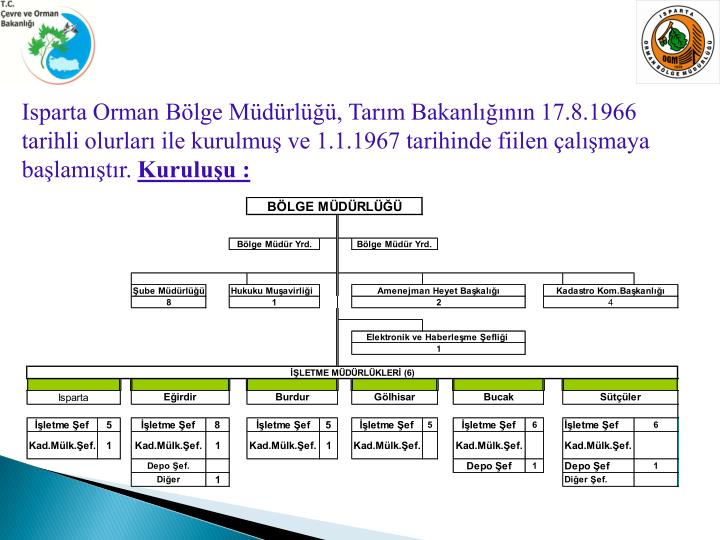 Isparta Orman Bölge Müdürlüğü, Tarım Bakanlığının 17.8.1966 tarihli olurları ile kurulmuş ve 1.1.1967 tarihinde fiilen çalışmaya başlamıştır.