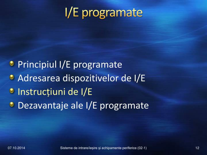 I/E programate