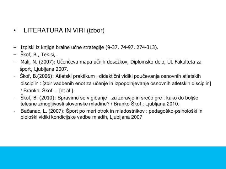 LITERATURA IN VIRI (izbor)