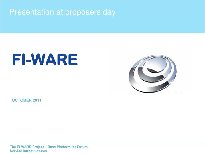 Presentation at proposers day