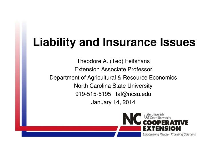 Liability and insurance issues