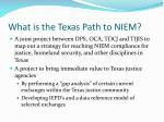 what is the texas path to niem