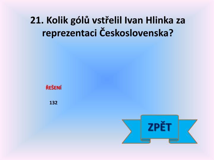 21. Kolik gólů vstřelil Ivan Hlinka za reprezentaci Československa?