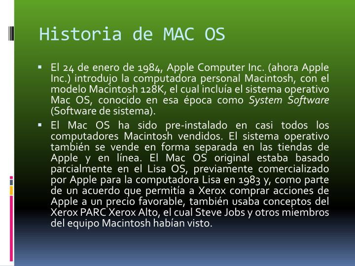 Historia de MAC OS