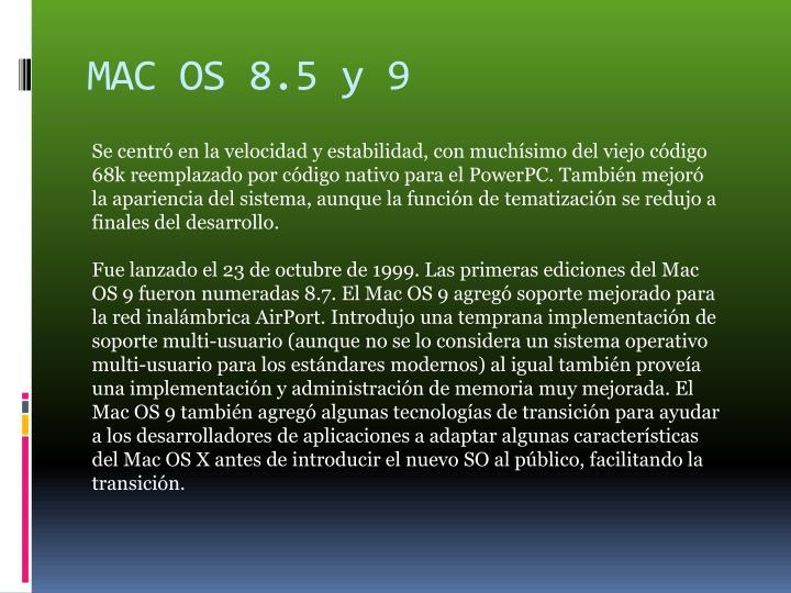 MAC OS 8.5 y 9