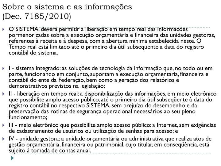 Sobre o sistema e as informações
