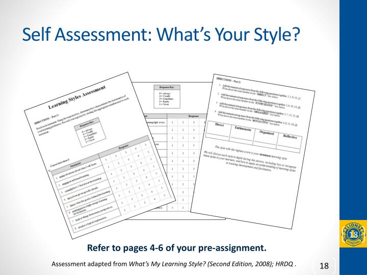 Self Assessment: What's Your Style?