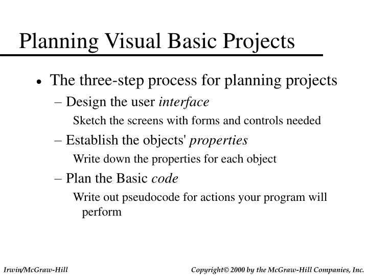 Planning Visual Basic Projects