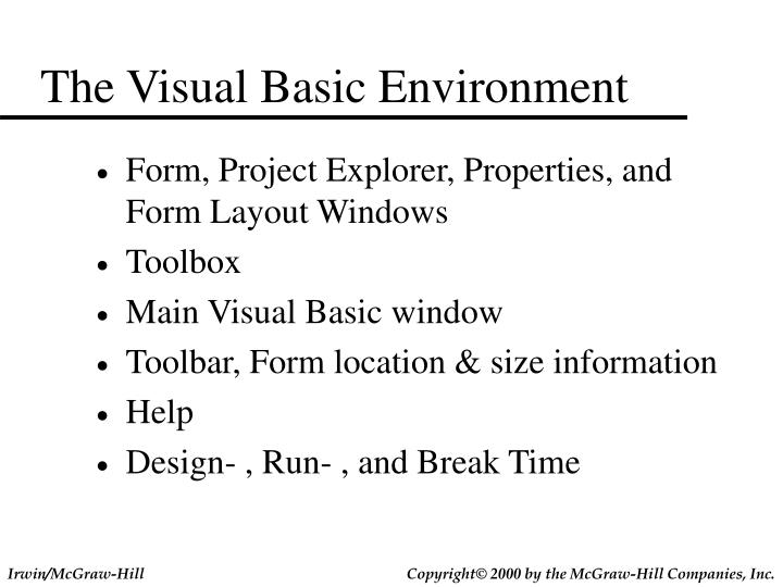 The Visual Basic Environment