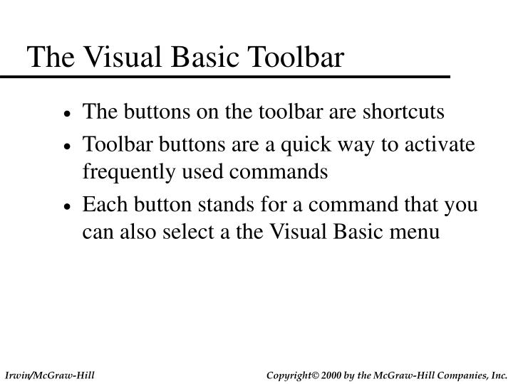 The Visual Basic Toolbar