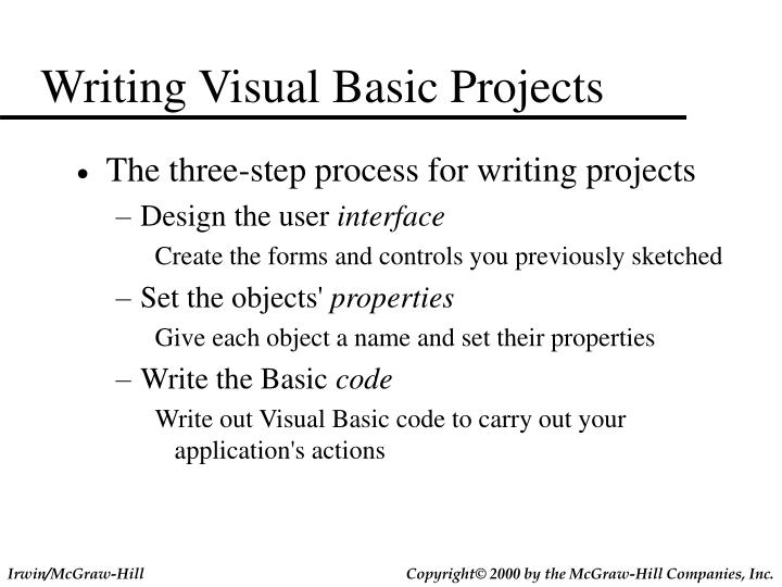 Writing Visual Basic Projects