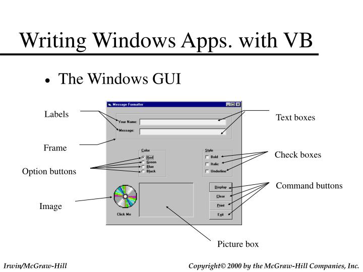 Writing windows apps with vb