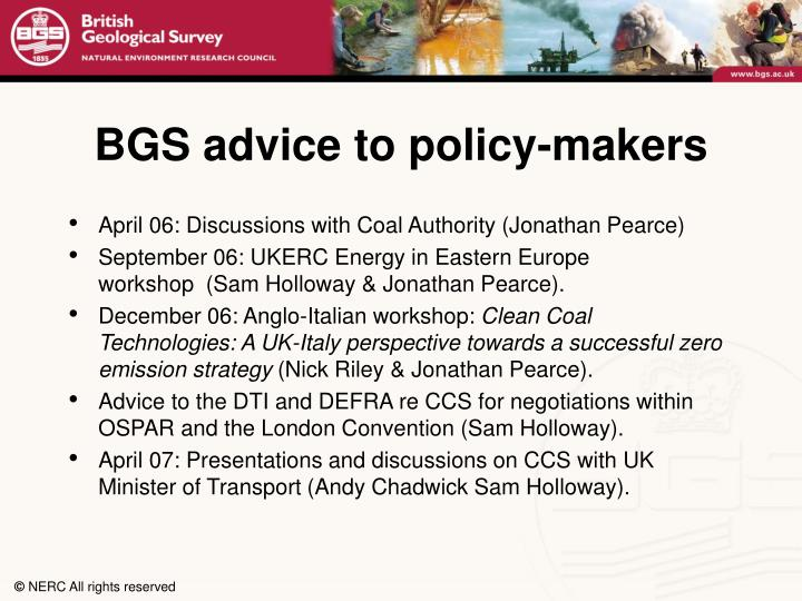 BGS advice to policy-makers