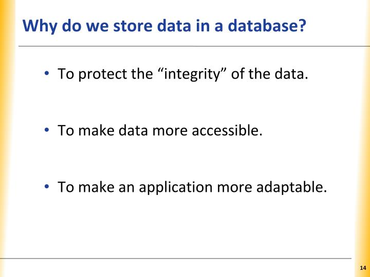 Why do we store data in a database?