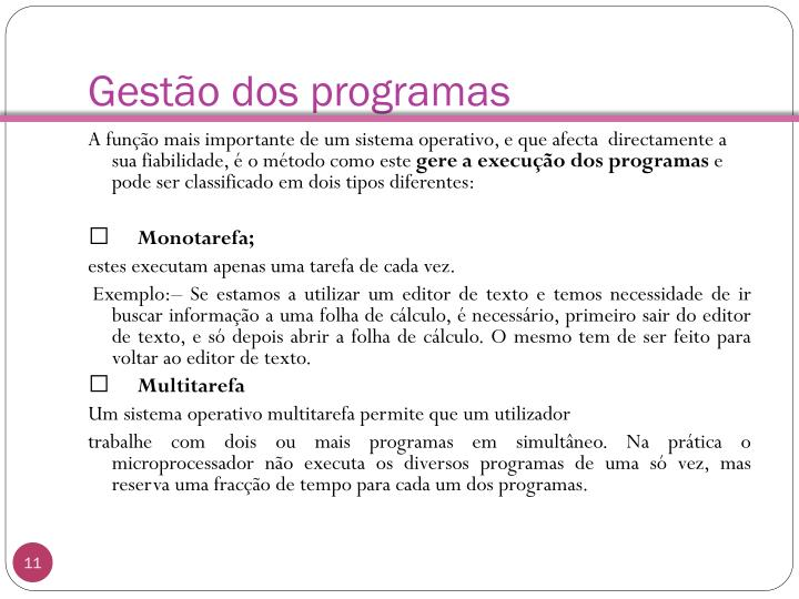 Gestão dos programas
