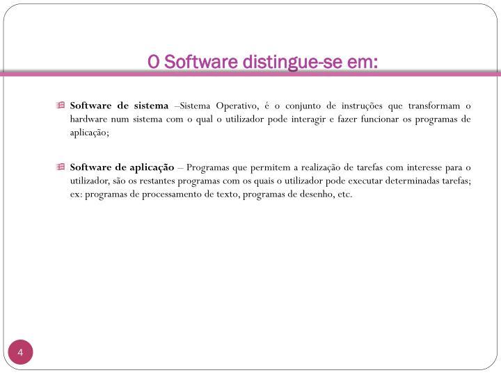 O Software distingue-se em: