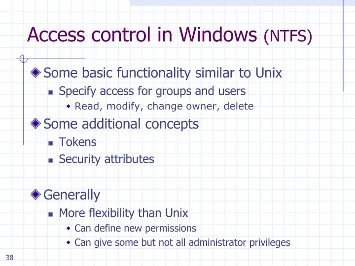 Access control in Windows