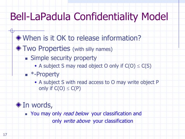 Bell-LaPadula Confidentiality Model