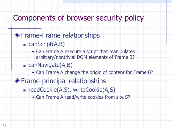 Components of browser security policy