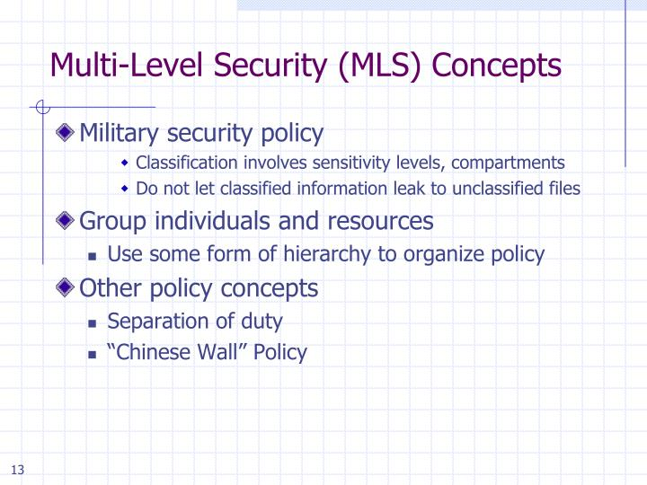 Multi-Level Security (MLS) Concepts