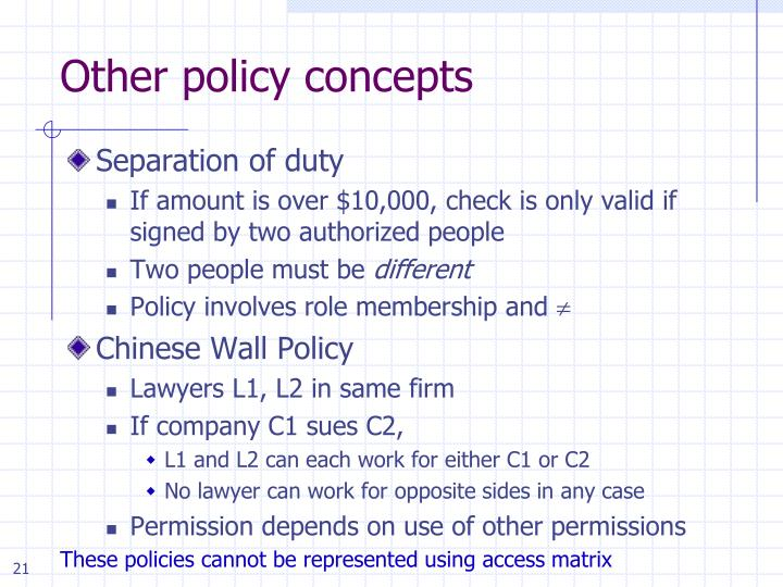 Other policy concepts