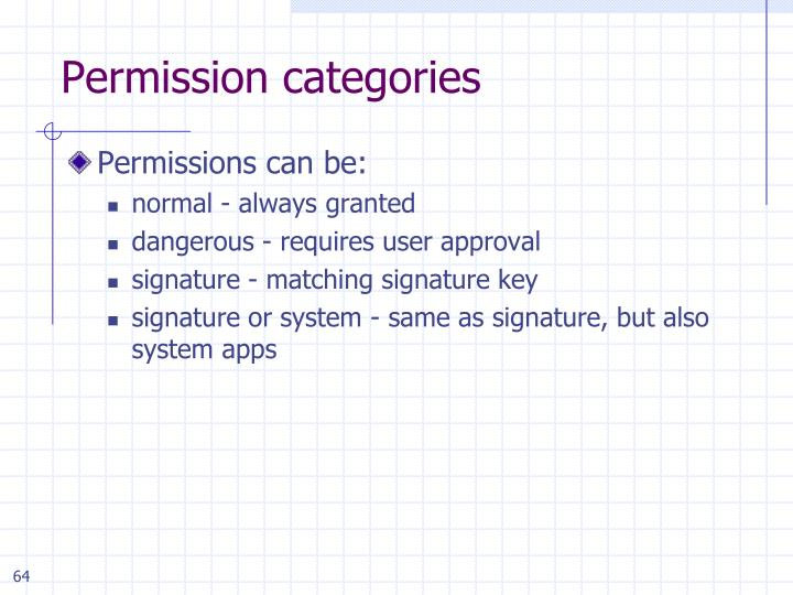 Permission categories