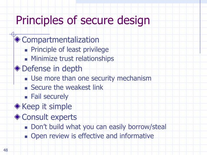 Principles of secure design