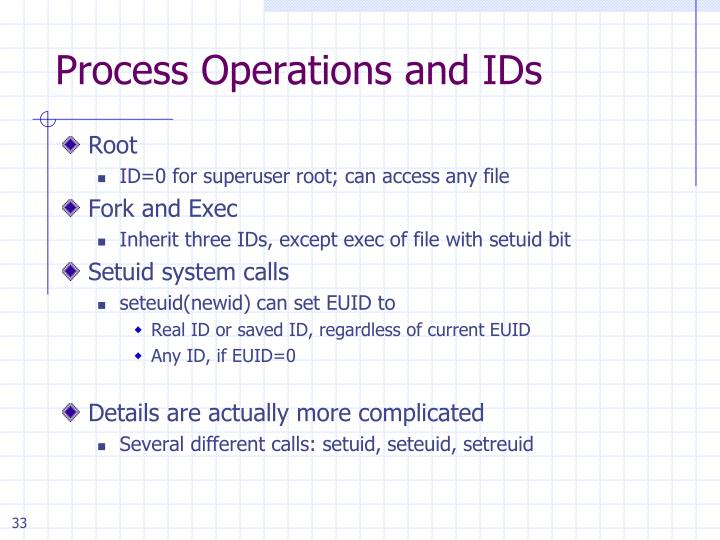 Process Operations and IDs