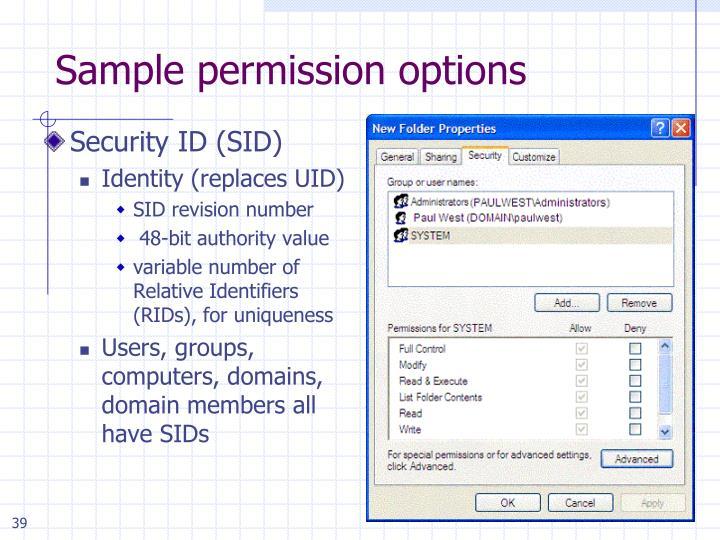 Sample permission options