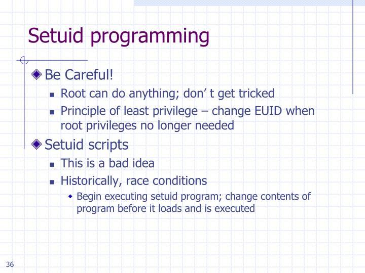 Setuid programming