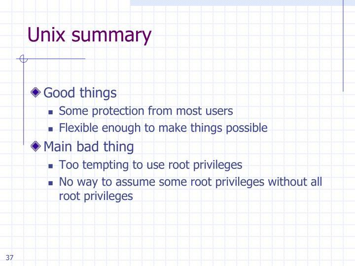 Unix summary